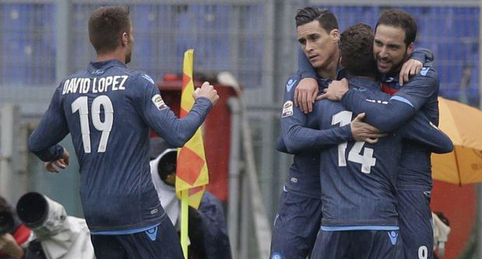 Napoli ganó 1-0 a Lazio con gol de Higuaín y escala en Serie A