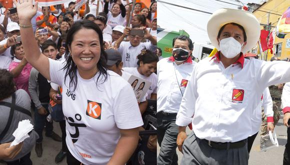 Keiko Fujimori y Pedro Castillo son los candidatos que pasarán a segunda vuelta. (Fotos: GEC)