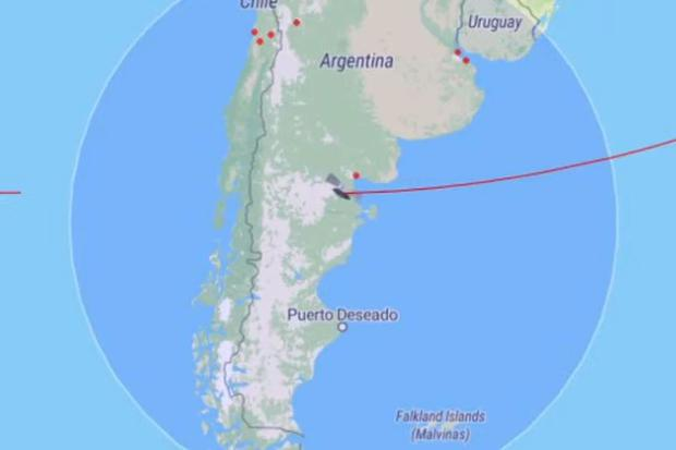 Image of the location of the rocket on Friday afternoon, when crossing Chile and Argentina.