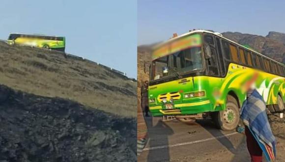 Puno: bus con pasajeros acabó en el borde de un abismo tras asalto donde murió el conductor (Foto: PNP)