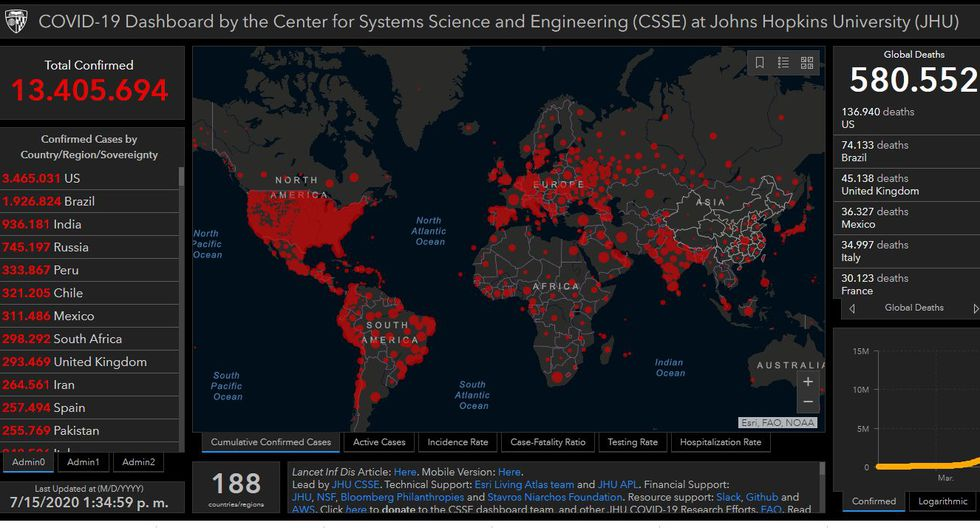 Mapa del coronavirus en el mundo hoy miércoles 15 de julio del 2020. (Universidad John Hopkins).