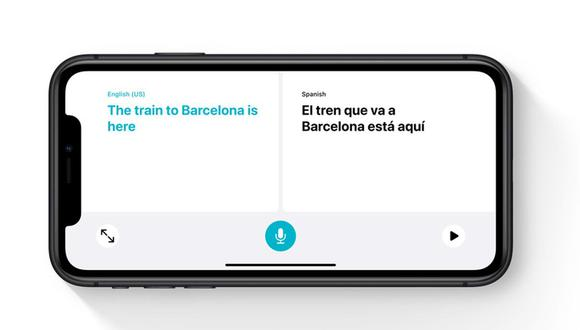 """La app """"Traducir"""" o """"Translate"""" de iOS 14 te permite conversar con una persona que no conozca tu idioma. (Imagen: Apple)"""