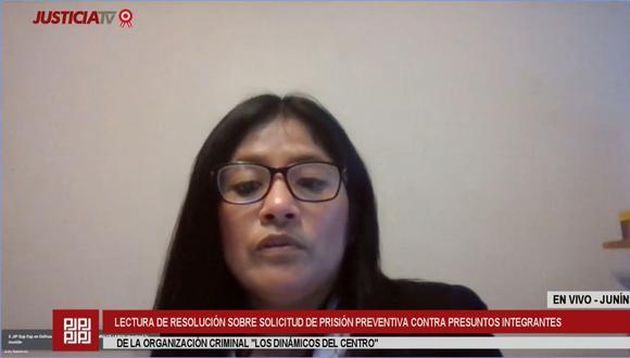 La jueza Judy Baldeón evaluó los elementos de convicción por el caso Los Dinámicos del Centro | Foto: Captura de video / Justicia TV
