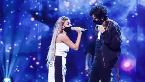 """Danna Paola y Sebastián Yatra preparando su presentación para """"Premios Juventud 2020"""". (Cortesía / Univision)."""