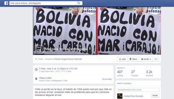 Facebook: polémica por marcha pro Bolivia convocada en Chile
