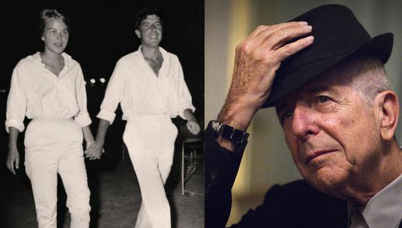 A la izquierda, el póster del documental dedicado a Leonard Cohen y Marianne Ihlen disponible en Netflix. A la derecha, el cantante en una de sus últimas apariciones públicas antes de su fallecimiento. Fotos: BBC/ Joel Saget para AFP.