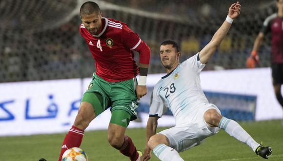 El seleccionado argentino venció 1-0 como visitante a Marruecos, en un deslucido partido amistoso que no contó con la presencia del astro Lionel Messi. (Foto: AFP)