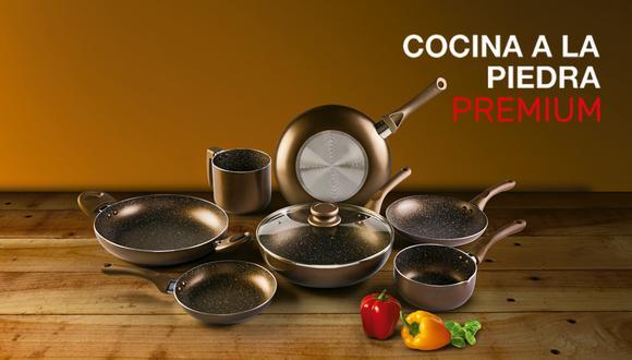 La nueva colección de batería de cocina está compuesta de 8 entregas: un wok, sartenes, ollas, una lechera y una tapa de vidrio de 26 cm de diámetro.