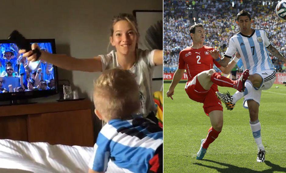 Luisana Lopilato alentó con su hijo a la selección argentina