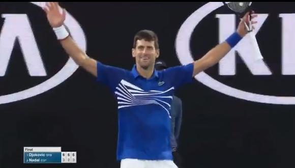 Novak Djokovic derrotó 3-0 a Rafael Nadal y logró su séptimo título en el Australian Open.(Foto: Captura).