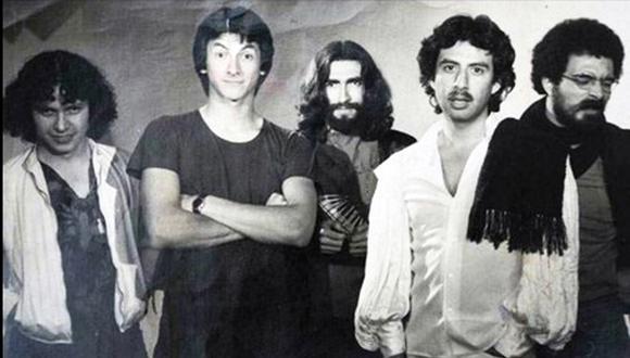 1980: integrantes de Frágil durante la grabación del primer disco: Luis Valderrama, Arturo Creamer, Octavio Castillo, César Bustamante y Andrés Dulude.