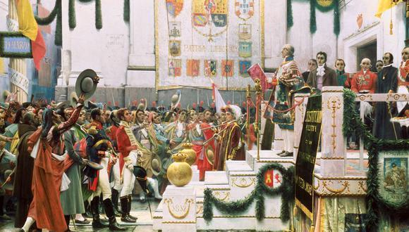 """""""La promulgación de la Constitución de 1812"""", obra de Salvador Viniegra. Será justamente Cádiz, lugar donde ocurrió este evento histórico, el tema en torno al cual se centrará el primer seminario de """"Ilustración y Revolución. Tres ciudades conectadas: Cádiz, Londres y Lima."""" (Foto: Museo de las Cortes de Cádiz)."""