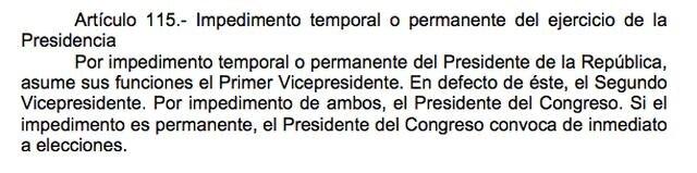 La sucesión presidencial está señalada en el artículo 115 de la Constitución Política del Perú.