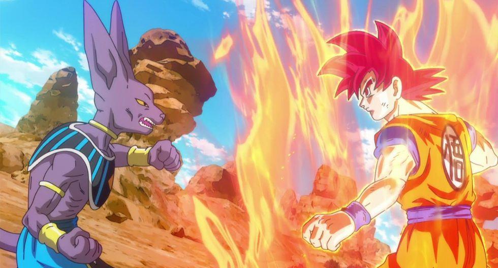 """""""Dragon Ball Super"""". Gokú contra Bills, la primera gran batalla de la serie. Aquí el héroe se convirtió en súper saiya dios, nivel de lucha que abrió la puerta a otras fases de poder.  (Fuente: Toei Animation)"""
