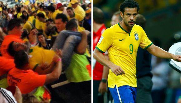 Brasil vs. Alemania: hincha intentó agredir a Fred en la banca