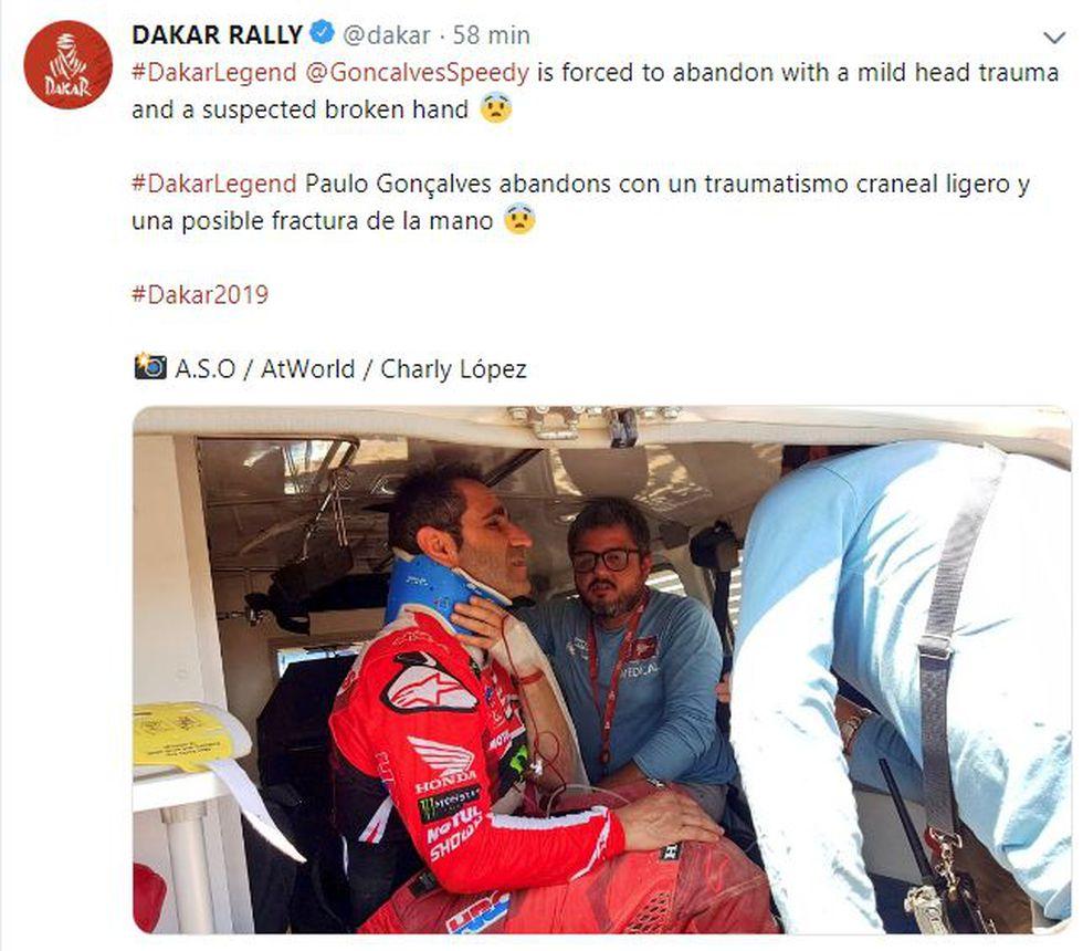 El reporte del Dakar sobre la caída de Paulo Gonçalves. (Foto: Twitter)