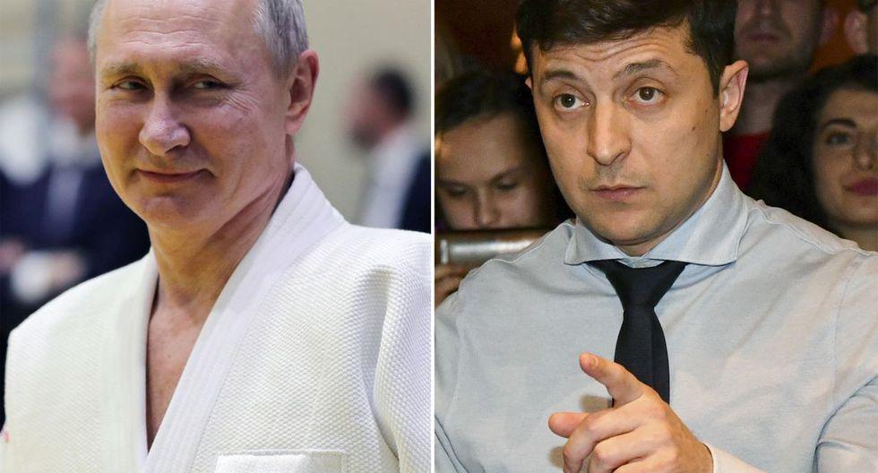 Una imagen de archivo de Vladimir Putin y Volodimir Zelensky. La guerra entre Kiev y los separatistas prorrusos ha provocado más de 13.000 muertos en la cuenca del Donetsk, bastión industrial del este ucraniano. (AFP)