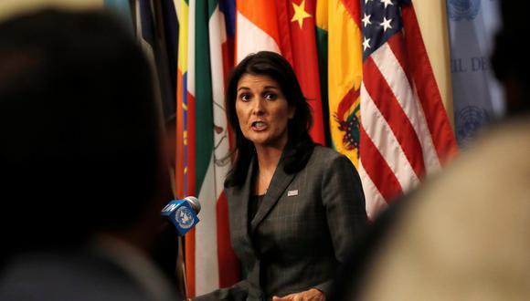 """""""El resultado de la corrupción de funcionarios como Diosdado Cabello es que no solo el pueblo de Venezuela sufre, sino que la seguridad de todo el hemisferio sufre"""", dijo Haley ante la ONU. (Reuters)"""