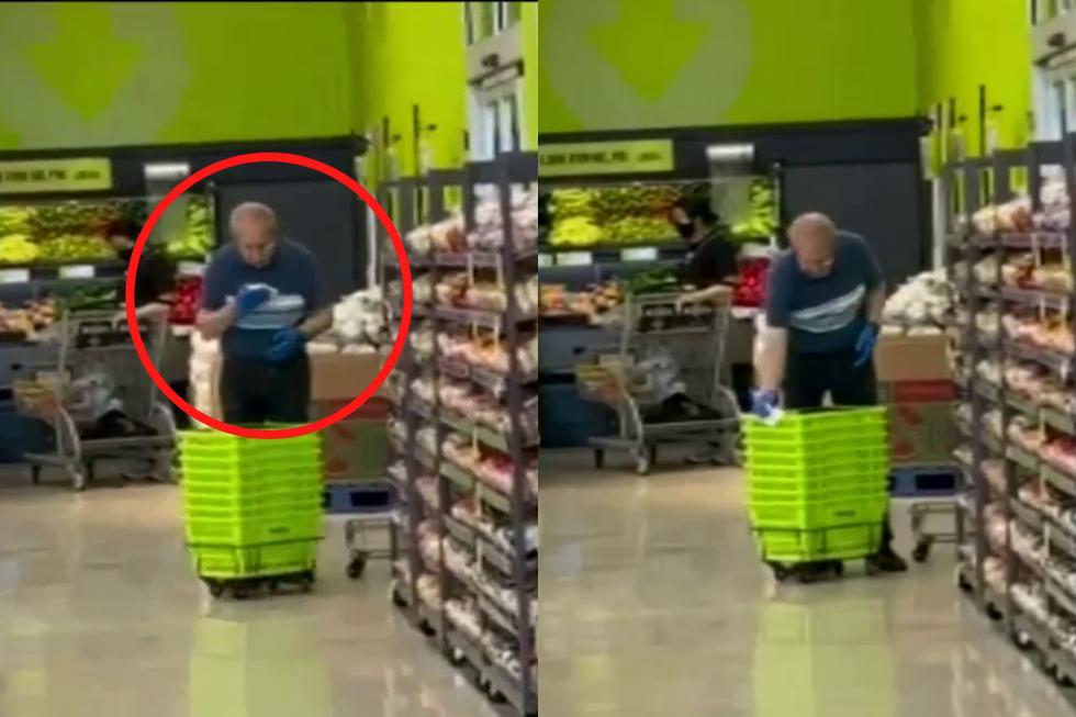 FOTO 1 DE 3 | Un video viral muestra cómo un trabajador de una conocida cadena de supermercados en Canadá limpia las canastillas a punta de escupitajos.| Crédito: CityNews Toronto en Facebook. (Desliza hacia la izquierda para ver más)