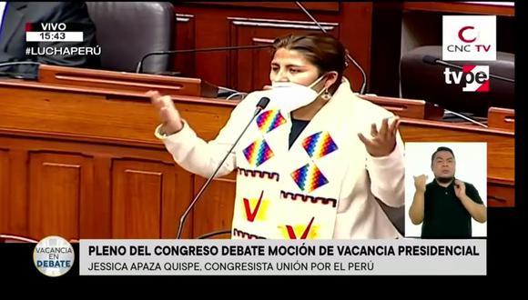 Yessica Apaza es precandidata al Parlamento Andino por Unión por el Perú. (Foto: Captura TV Perú)