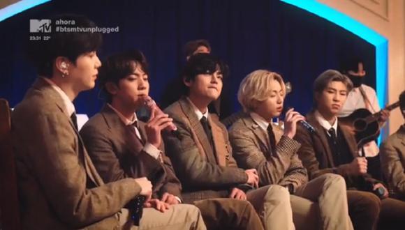 Suga se sumó a sus compañeros de BTS para MTV Unplugged. (Foto: Captura MTV)