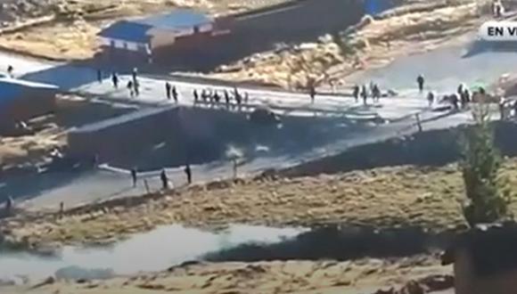 Por cuarto día consecutivo permanece bloqueado el corredor minero por las protestas de las comunidades de Chumbivilcas, en el Cusco | Foto: Captura de video / RPP