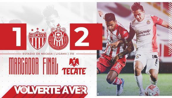 Chivas de Guadalajara, con goles de Antuna y Vega, se impuso de visita en tiempo de descuento a Necaxa en el Estadio Victoria de Aguascalientes el viernes 11 de setiembre desde las 7:30 p.m. (Foto: Twitter Chivas)