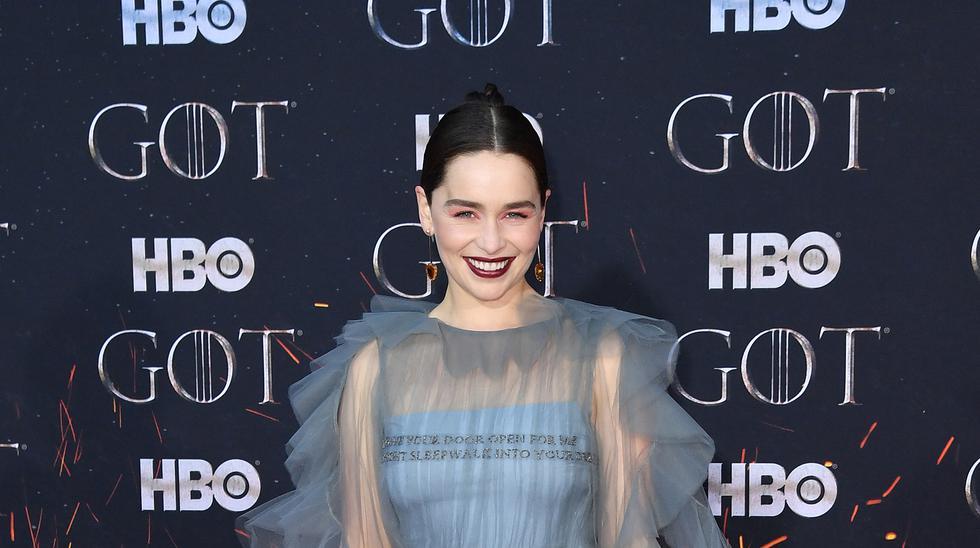 """Emilia Clarke en la premiere de la última temporada de """"Game of thrones"""" en abril de 2019. (Angela Weiss para AFP)"""