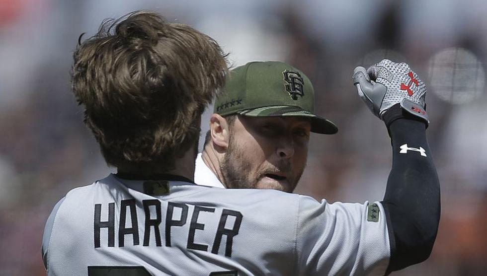 Byrce Harper, batter de los Washington Nationals, agredió a golpes a su rival Hunter Strickland, pitcher de los San Francisco Giants. (Foto: AP)
