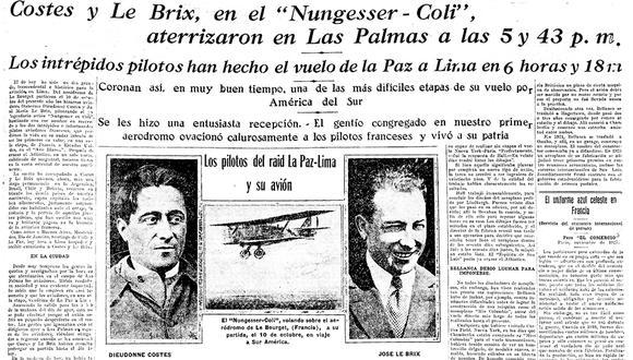 Con una edición extraordinaria, El Comercio anunció, un 29 de diciembre 1927, la llegada a Lima de los aviadores franceses Costes y Le Brix.