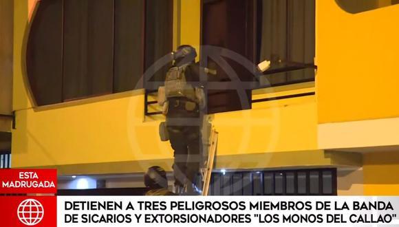 Esta madrugada se realizó operación que contempla la captura de tres presuntos miembros de la banda denominada 'Los monos del Callao'. (Captura: América Noticias)