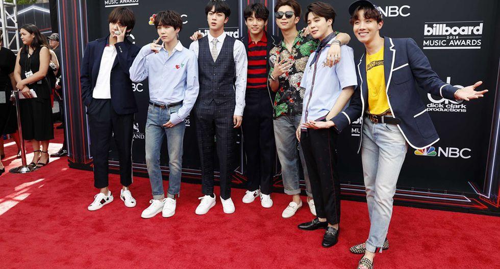 BTS en la alfombra roja de los Billboard 2018. (Foto: Agencias)