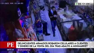 Los Olivos: Criminales armados asaltan a clientes dentro de un minimarket
