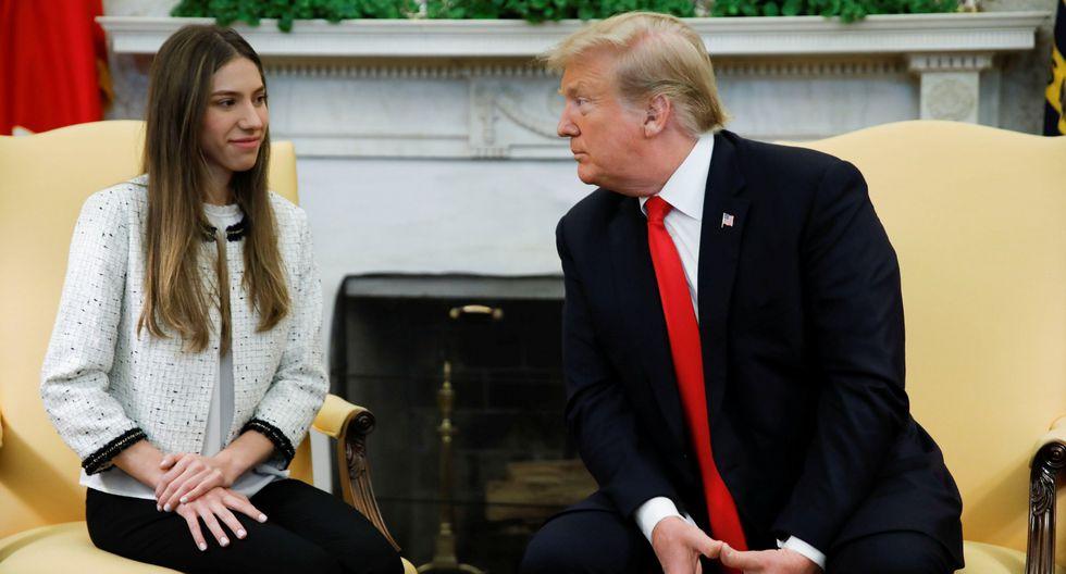 Donald Trump se reunió hoy inesperadamente en la Casa Blanca con Fabiana Rosales, la esposa del presidente encargado de Venezuela Juan Guaidó. (Reuters).