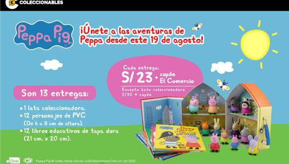El Comercio te trae una colección exclusiva con los personas más queridos de la serie infantil Peppa Pig. Son 13 entregas y se compone por 12 personajes en miniatura, 12 libros en tapa dura y una caja coleccionadora.