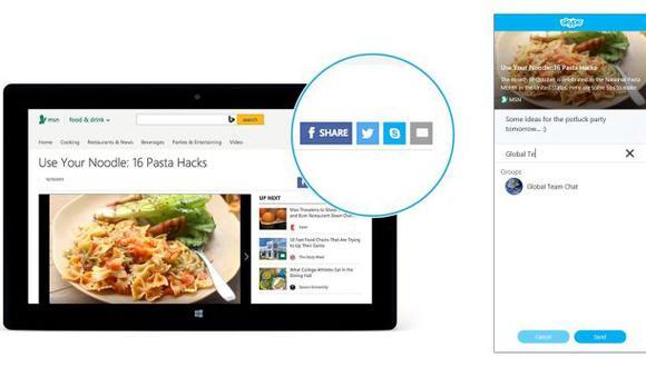 Microsoft presentó el nuevos botón compartir en Skype