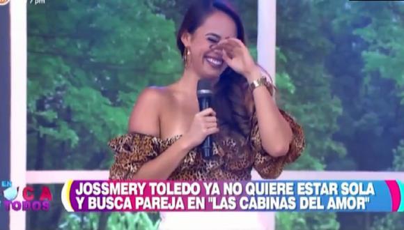 """Jossmery Toledo fue parte de la secuencia """"Las cabinas del amor"""" en el programa """"En boca de todos"""". (Foto: Captura América TV)."""