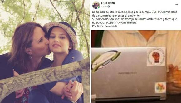 Erica Hahn pidió que le devuelvan el equipo donde guarda muchas fotos de su hija fallecida. (Foto: Erica Hahn | Facebook)
