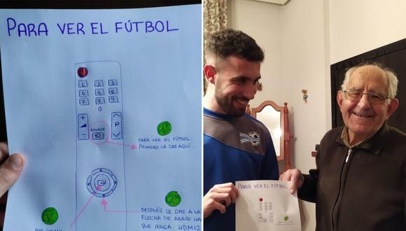 Simplificó para su abuelo las funciones del mando de la tele para que pudiese seguir viendo el fútbol (Twitter | @juanjopm_)