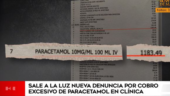 Esta es la boleta en la que consigna el cobro de S/ 1.183 por siete inyectables de paracetamol. (América Noticias)