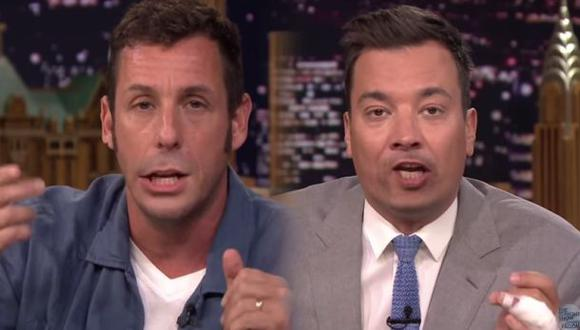 Adam Sandler y su gracioso intercambio de boca con Jimmy Fallon