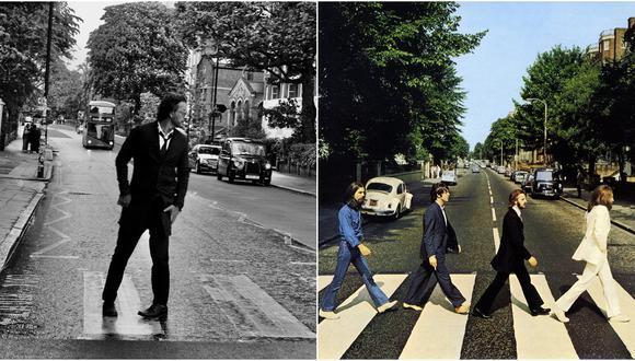 """Ricardo Arjona (izq.) en el lugar donde los Beatles se fotografiaroj parta su emblemático álbum Abbey Road (der.). El guatemalteco grabó su nuevo disco en el mismo lugar que los """"cuatro de Liverpool"""". Fotos: @ricardoarjona/ Apple Records."""