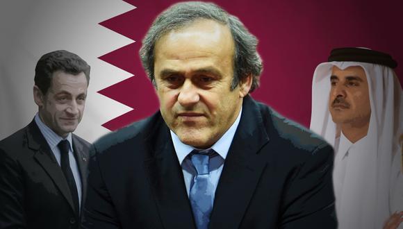 La reunión entre el entonces presidente de Francia, Nicolas Sarkozy, y el actual emir de Qatar, Tamim bin Hamad Al Thani, en el 2010 tenía como propósito que Michel Platini vote por Qatar como sede del Mundial 2022. (Ilustración Armando Scargglioni)