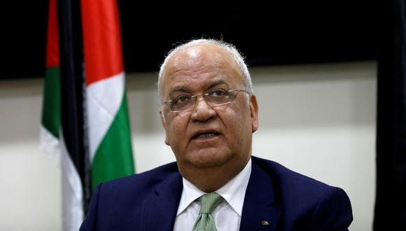 El negociador palestino jefe, Saeb Erekat, es visto en una conferencia de prensa en Ramallah, en la Cisjordania ocupada por Israel. Imagen de archivo del 30 de enero de 2019. (REUTERS/Mohamad Torokman).