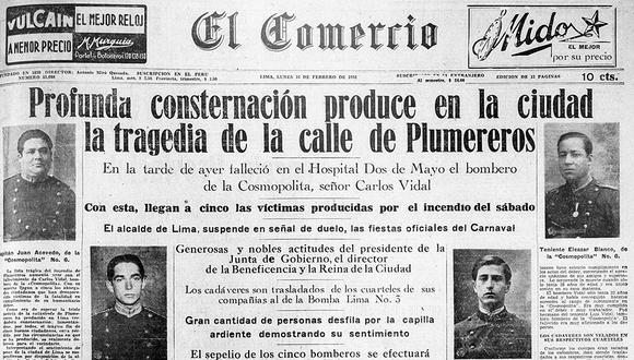 Así informó El Comercio sobre la muerte de los bomberos atrapados en el incendio de la calle de los Plumereros. Foto: GEC Archivo Histórico