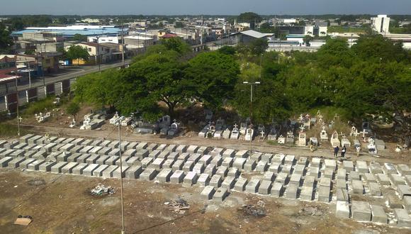 Vista aérea de las nuevas tumbas en el cementerio de Maria Canals en las afueras de Guayaquil, Ecuador, que fueron construidas para los fallecidos por coronavirus. (AFP / Jose Sánchez).