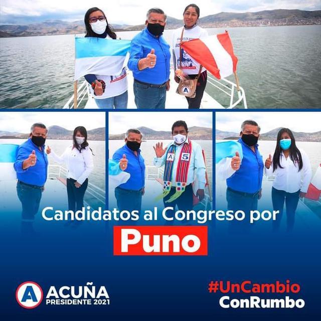 Yeny Quispe, a la derecha con mascarilla celeste junto al candidato presidencial de APP, César Acuña. (Foto: Facebook APP Puno)
