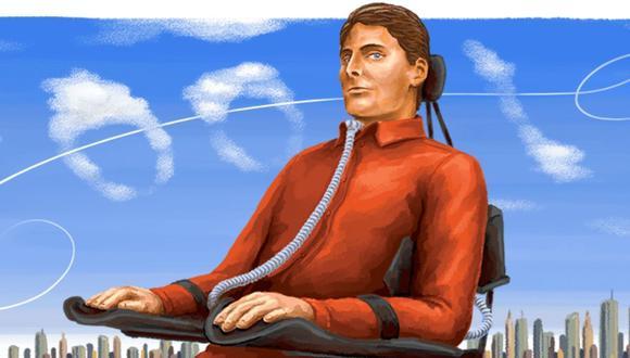 """Christopher Reeve, popular por su papeles en """"Superman"""" y por su trabajo a favor de las personas con lesiones en la médula espinal. (Foto: Doodle)"""