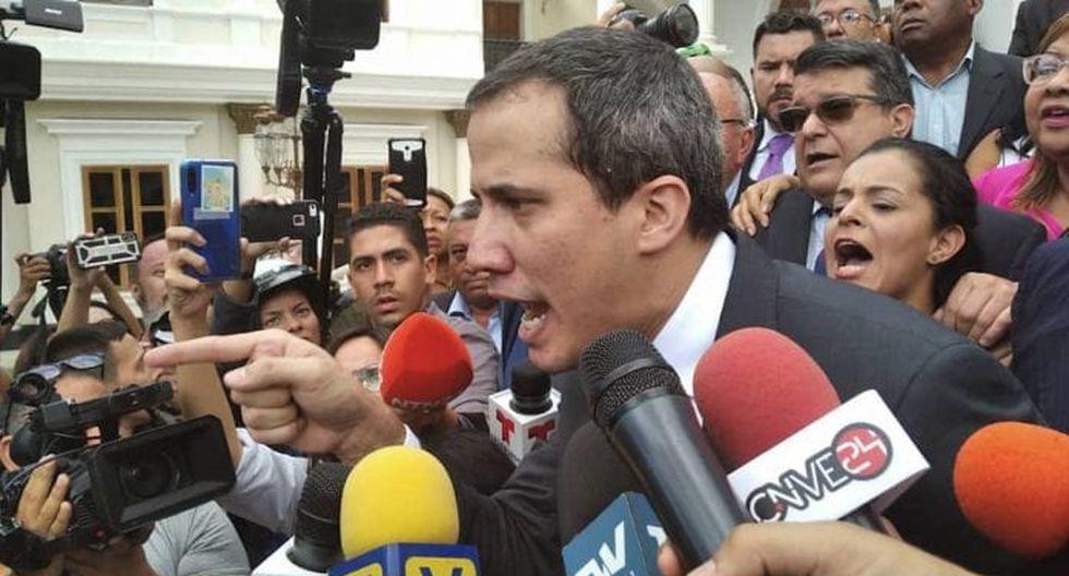 """El incidente ocurrió luego de que el también presidente interino de Venezuela diera inicio a las sesiones del Parlamento en el 2020. (Foto: """"El Nacional"""" de Venezuela, GDA)."""