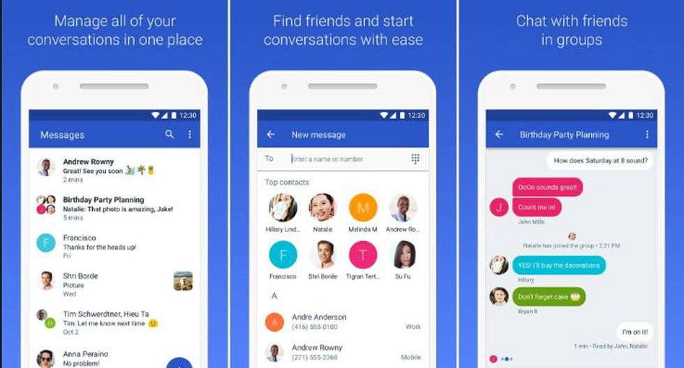 Android Messages para móviles
